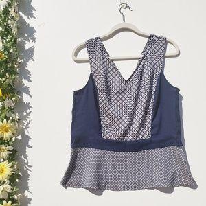 Ann Taylor Floral Sleeveless Peplum Blouse 14